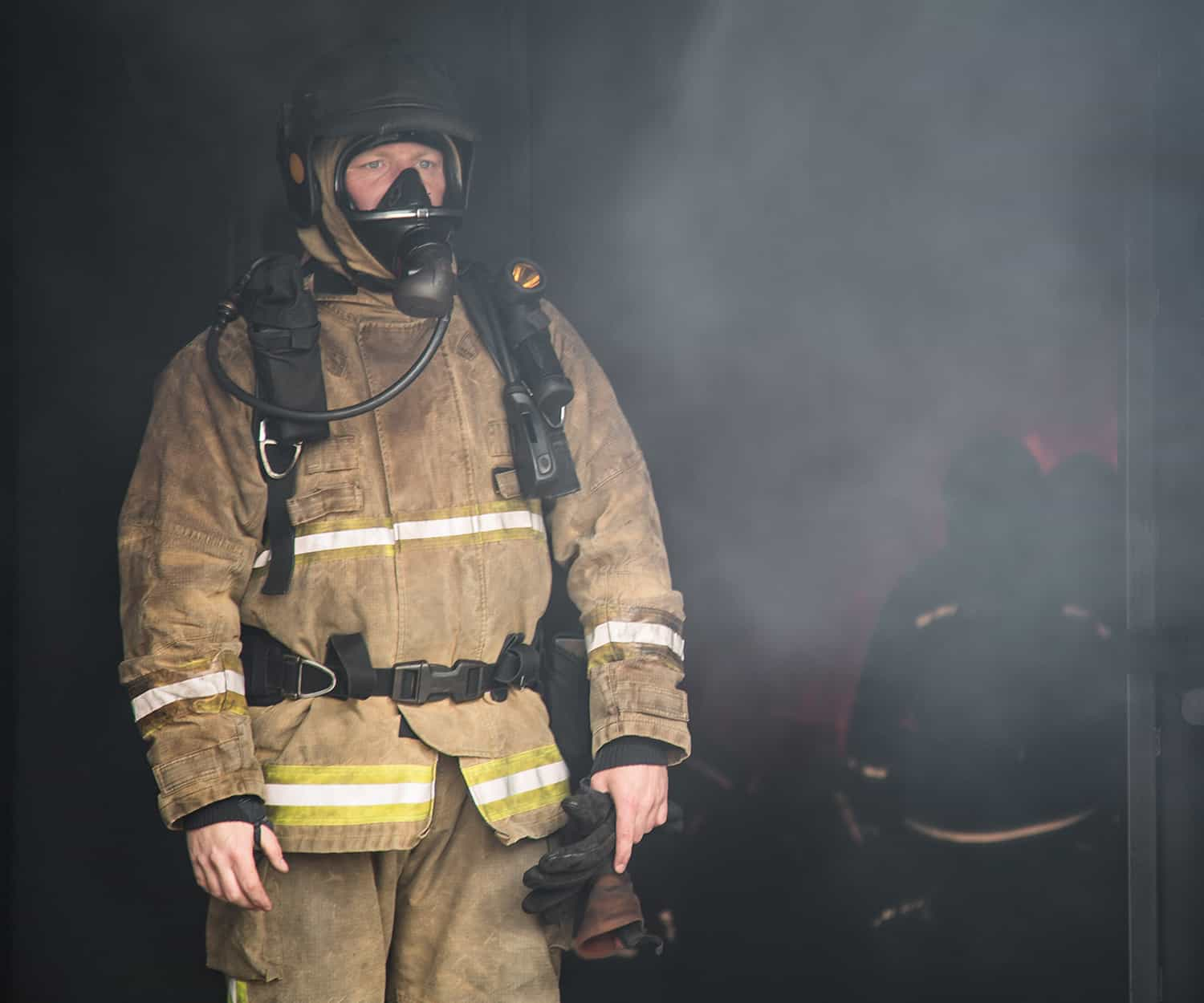 Hampshire Firefighter Close Up Breathing Apparatus
