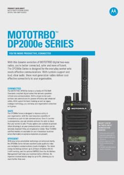 Motorola dp2000e datasheet