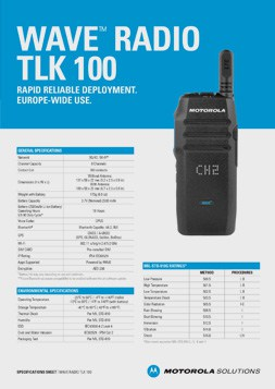 Motorola WAVE Radio TLK100 DataSheet