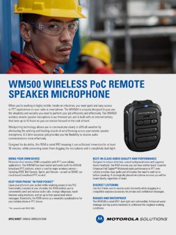 Motorola WM500 Wireless RSM spec sheet
