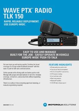 Motorola Wave PTX TLK150 DataSheet