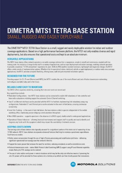 motorola dimetra mts1 tetra base station datasheet