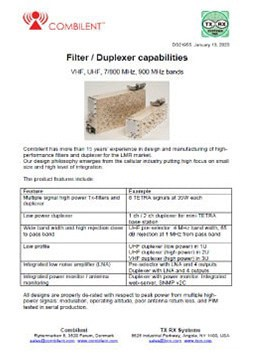 Combilent Filters and Duplexers PDF